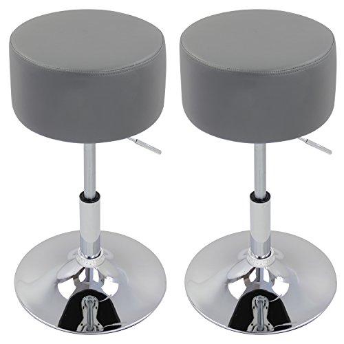 Rückenlehne Bar (WOLTU BH14gr-2 Design Hocker mit Griff , 2er Set , stufenlose Höhenverstellung , verchromter Stahl , Antirutschgummi , pflegeleichter Kunstleder , gut gepolsterte Sitzfläche , grau)