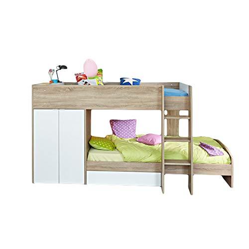 Jugendmöbel24.de Hochbett Sonoma Eiche inkl 2 Betten + Kleiderschrank + Lattenrostplatten Spielbett Kinderbett Kinderzimmer Stockbett