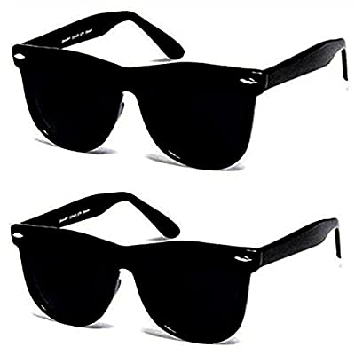 Sheomy UV Protected Wayfarer Men's and Women's Sunglasses with 3 Hard Boxes (3IN1-0075, 55, Black) - Combo Set of 3