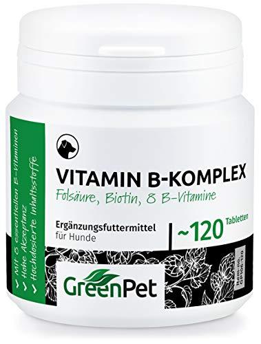 GreenPet Vitamin B Komplex für Hunde   8 B-Vitamine, Biotin, Folsäure und Mineralstoffe   Hochdosiert   für alte Hunde (Senior), Junge (Junior) und Welpen   Made in Germany   120 kleine Tabletten