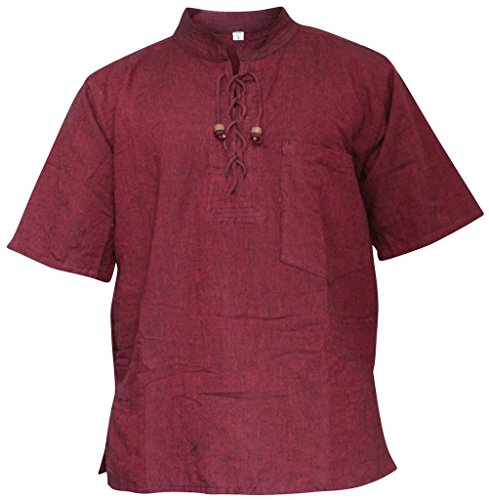 SHOPOHOLIC FASHION Herren Halb ärmlig Hippie Großvater Shirt Maroon