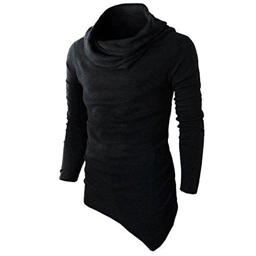 YunYoud Männer Slim Fit Tuetleneck Tops Lange Ärmel Muskel Hemd Herren Einfarbig Patchwork Blusen Mode Beiläufig T-Shirt Irregulär Pullover Sweatshirt (L, Schwarz)