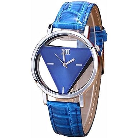 Tongshi de las mujeres únicas ahuecada triangular Dial Negro relojes de moda (azul)