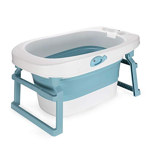 Fascol 3-in-1 Baby Bathtubs, Collapsible Bathtubs with Stand & Removable Bath Stool, Infants Bathing Tub for Toddlers Newborns Shower, Age 0-10, Blue