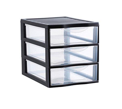 Sundis Orgamix Mini Aufbewahrungsschrank mit Schubladen groß Polypropylen, Kunststoff, schwarz, A4 (Kunststoff-schubladen Große)