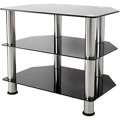 De color negro brillante para televisor con cristal de seguridad templado, patas de aluminio, 20KGs por estante, Tamaño de pantalla 20 -