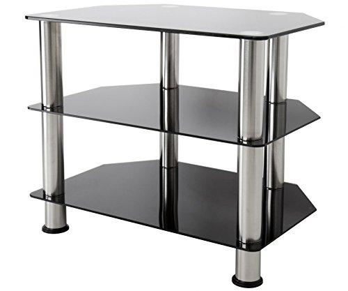 "Mesa para televisor LCD LED de 20, 40, 42 y 47"", con espacio para cables, color negro brillante, Black Glass, Chrome Leg, 60 cm"