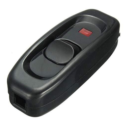 Lichtschalter, 10A Innenlinie/Off Wippschalter Durchführung Tisch Schreibtischlampe Kabel Schalter für Tischlampe Tischleuchte - Schwarz, 7.2 * 2.7 * 2.1cm -