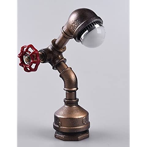 ZSQ Vintage lampada industriale Loft in stile retrò tubo di ferro Scrivania Lampada da tavolo (2 Ferro Loft)