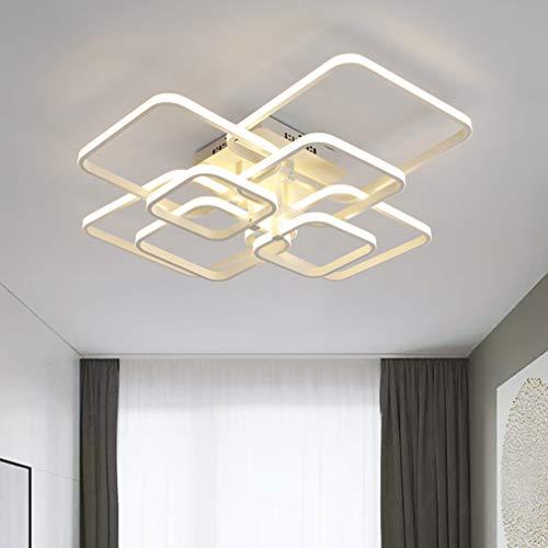 Deckenleuchte LED Eckige Deckenlampe Wohnzimmer-Lampe Dimmbar Wohnzimmer-Leuchte Metall Acryl Lampenschirme Modern Designer-Lampe Flur Esstischleuchte mit Fernbedienung Rechteck Dekorlampe Weiß 100W