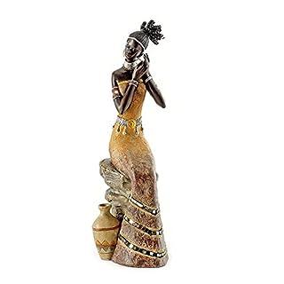 Pajoma 57537 Afrikanische Deko Massai Frau, Kunstharz, Höhe 35,5 cm