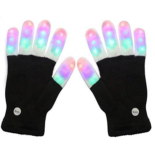 (Bestland LED leuchtende Handschuhe 6 Modus Blinkende Finger Beleuchtung Rave Handschuhe für Halloween Club Weihnachten Geburtstag Geschenk Show Disco Party Karneval)
