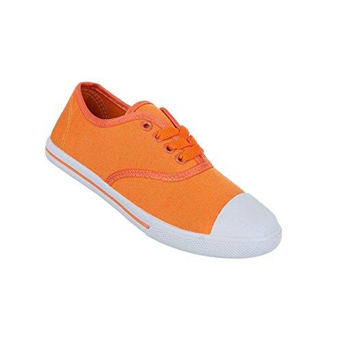 Damen Schuhe Freizeitschuhe Schnürer Turnschuhe Sneakers Orange