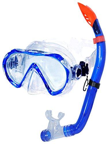 Aquazon Hochwertiges Schnorchelset Elba, Schnorchelbrille und Schnorchel Incl. Netbag, Blau, für Kinder, Jugendliche von 7-14 Jahren und Damen, Junior Medium Size
