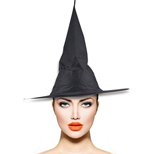 De Lux Kostüm - Lux Accessories Halloween Hexenhut Kostüm Zubehör Schwarz