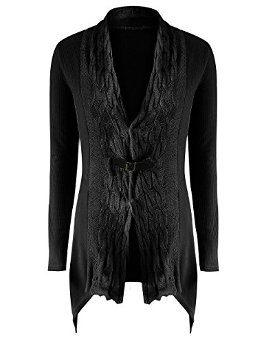 LANISEN Damen Langarm Almgwand Asymmetrisch Strickjacke Pullover Sweatshirt S-XL Schwarz