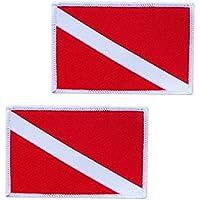 Perfeclan 2 Piezas de Bandera de Buceo Parche Insignia de Mochila Coser en Parches Bordados