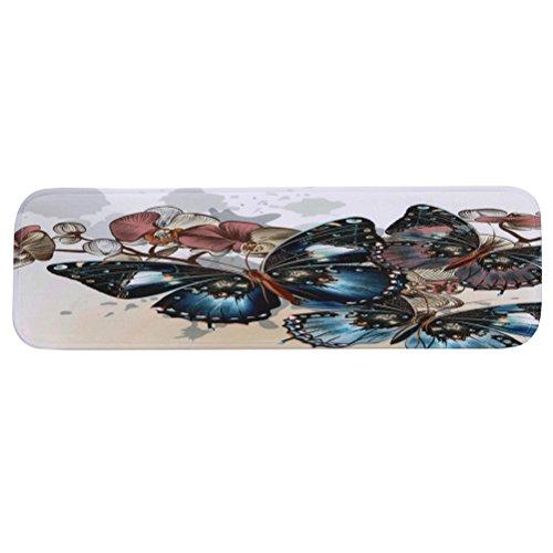 VORCOOL Treppenteppich Stufenmatte Anti Rutsch Waschbare Treppematte mit Klebeband Gummibeschichtung (Schmetterling)