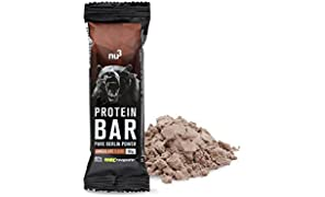 nu3 Protein Bar | 40 % Protein with chocolate flavor | 12 x 50g high protein snack | Solid 20g protein per bar | With creatin monohydrate from Creapure | Only 0,8g sugar per bar | Made of milk and whey protein