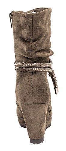 Elara Damen Plateau Stiefelette | Keilabsatz Boots | Bequeme Strass Stiefel Verde