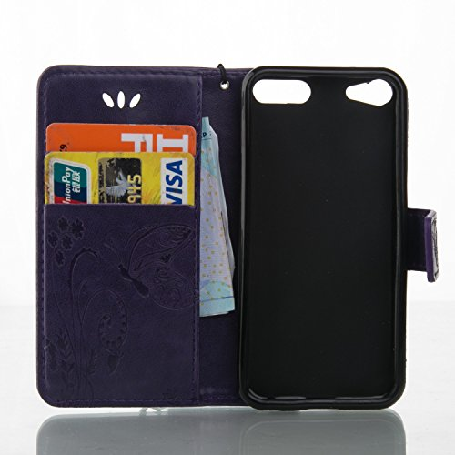 iPhone Case Cover Schmetterlings-Blumen Geprägte Fall Retro Premium-PU-Leder-Kasten-Schlag-Standplatz-Fall Magnetic-Mappen-Kasten mit Handschlaufe Cash Card Slots für iPod-Note 6 ( Color : Purple , Si Purple