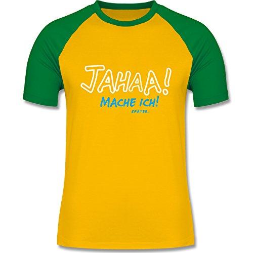 Sprüche - Mache ich später - zweifarbiges Baseballshirt für Männer Gelb/Grün