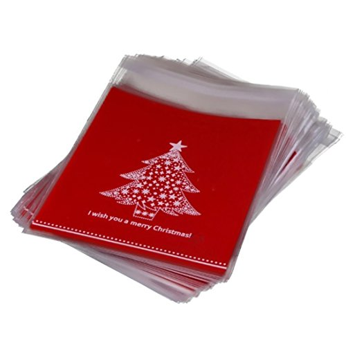 bstklebende Kunststoffdichtung Tasche Cookies SüßIgkeiten Verpackung Taschen Weihnachten Beutel (F) ()