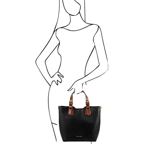 Tuscany Leather TL Bag Borsa a mano in pelle Saffiano - TL141696 (Giallo) Nero
