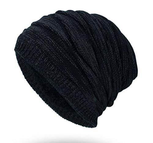 Korean Version of The Winter Men's Plus Velvet Warm Diamond Knit Hat Black - Diamond Knit Hat