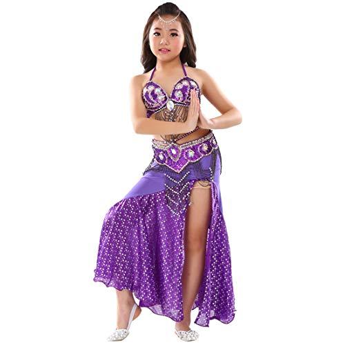 Mädchen Kostüm Zigeuner - Calcifer Kinder Bauchtanz-Kostüm, 3-teiliges Set, BH, Gürtel und Rock, dunkelviolett