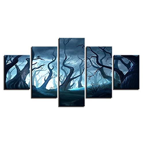 Aliworte Innen- Home Öl Gemälde Auf Leinwand Für Art Wandbild Dekoration Modernes Leinwand DIY 5 Pcs/Set Abstraktes Holz Rahmenlos 100x40 80x40 60x40(cm)