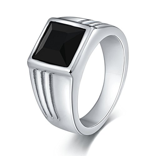 SonMo Stainless Steel Herren Ringe Bandring Breit Diamantiert Bandring Edelstahl Schwarz Signet Ring Band Ring Daumenring für Mann