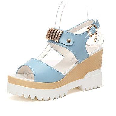 LvYuan Damen-Sandalen-Büro Kleid Party & Festivität-PU-Keilabsatz-Komfort-Blau Rosa Beige Beige