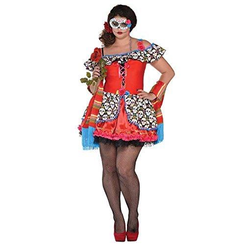 Damen Tag der Toten Senora Zuckerschädel Halloween Kostüm + Maske - Senora ZUCKERSCHÄDEL, Übergröße 46-48