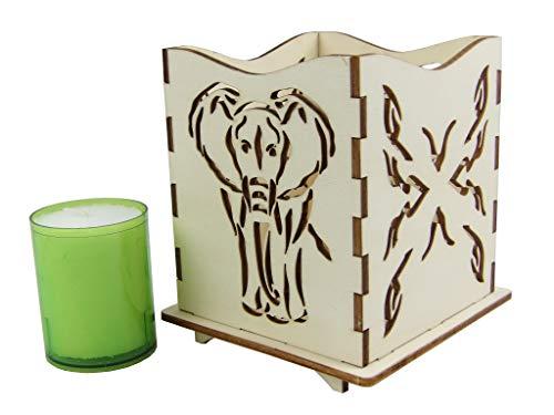 Creativo Nudos portavelas/lámpara de Ambiente Elefante y Patrones de Costura en Estilo Africano con Vela