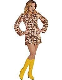 Widmann Kleid Groovy Siebziger Jahre 70er 80er Trompetenärmel Minikleid Hippie Schlager