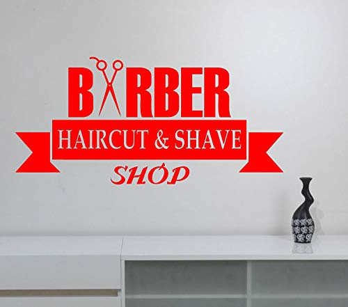 guijiumai Barbershop Vinyl Wandaufkleber Frisur Friseur Friseursalon Fensterdekoration Barbershop Interior Art Deco M 1 88x42cm