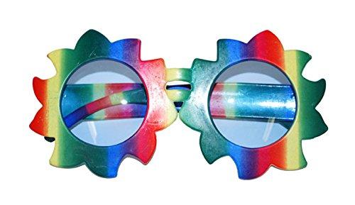 Brille Blume mit klaren Gläsern bunte Brille mit klaren Gläsern Rahmen in Blumenform Regenbogenfarben Accessoires