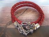 Handmade Echt Leder Wickel Armband Vintage Rot, geflochten
