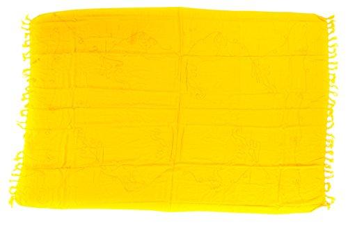 Sarong Pareo Wickelrock Strandtuch Tuch Wickeltuch Handtuch - Blickdicht - ca. 185cm x 115cm - Gelb Einfarbig mit Stickerei Big Size Handgefertigt inkl. Kokos Schnalle in Schmetterlingform (Kokos-schnalle)