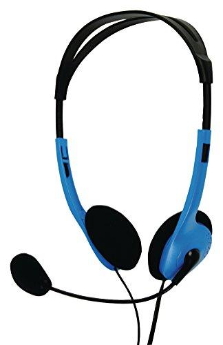 Eurosell - PC Computer Headset Kopfhörer Stereo Kopfbügel + Mikrofon flexibel + Lautstärkeregler 2 x 3,5mm Klinkenstecker Klinke blau schwarz Laptop Notebook etc.
