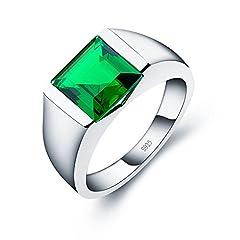 Idea Regalo - A ANGG Uomo 5.9ct Smeraldo 925 sterline d'argento Anello