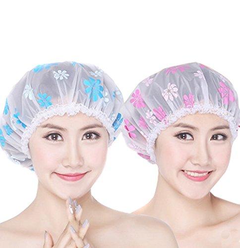 réutilisable jetable élastique Bonnet de douche de bain douche complet à chapeau pour adulte femmes Lot de 2 (Rose + Bleu Tournesol Motif)