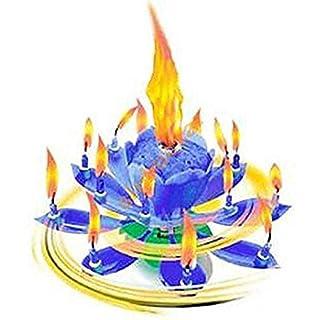 GMMH Musique Bougies de Fleurs Bleu Bonne Chance à Anniversaire avec Fontaine et Musique Bougies Décoration de Tarte Fontaine de Mariage 14 Bougies avec Le connu Mélodie Joyeux Anniversaire
