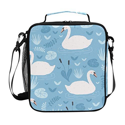 Lafle, borsa termica per il pranzo con cigni galleggianti, in tela, portatile, con tracolla regolabile, per picnic, scuola, lavoro, campeggio, viaggi