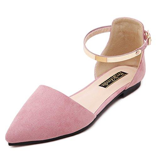 LJO Womens Sommer Wies Mode Sandalen Flache Ferse Schnalle Gürtel Baotou Flache Mund Schuhe,B,UK/EU36