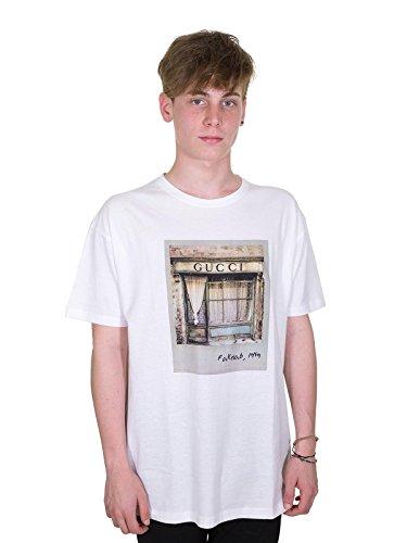Fakelab t-shirt stampa polaroid gucci f248 (xl, bianco)