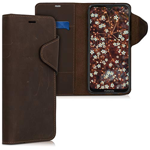 kalibri Motorola Moto G7 / Moto G7 Plus Hülle - Leder Handyhülle für Motorola Moto G7 / Moto G7 Plus - Handy Wallet Case Cover