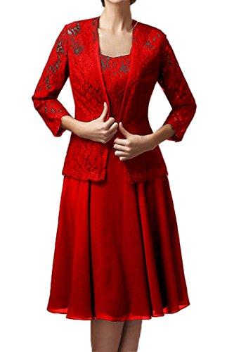Milano Bride Damen Elegant Spitze Langarm Brautmutterkleider Abenkleider Festkleider Knielang mit Bolero Rot