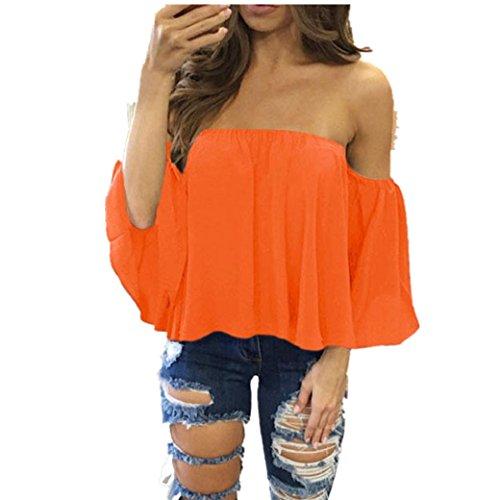 Bekleidung Longra Damen lange Ärmel Pullover T Shirt weg vom Schulter lässige Bluse Tops (M, Orange) (Orange Belted Shorts)